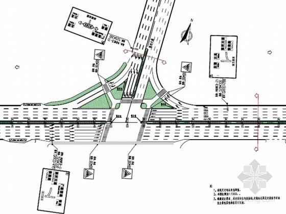 [广东]城市道路改造拓宽工程全套施工图设计59张(交通 绿化 照明)