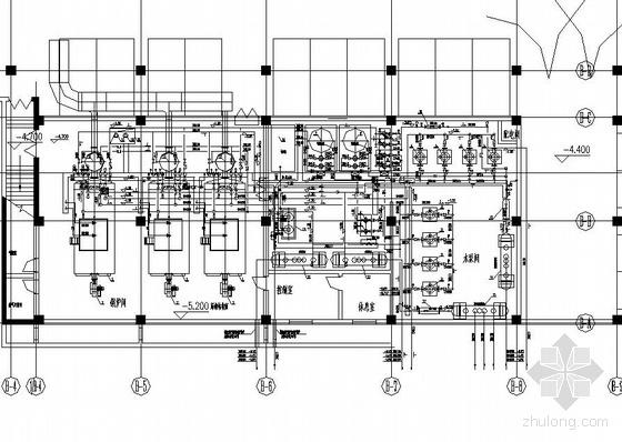 陕西某全自动热水锅炉房设备平面及流程图