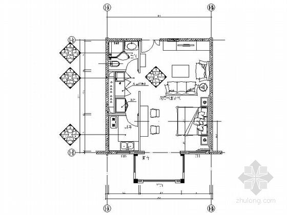 [北京]某花园小区现代一居室室内装修施工图(含效果)