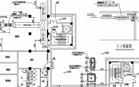高层办公楼通风防排烟设计施工图(地下室、人防)