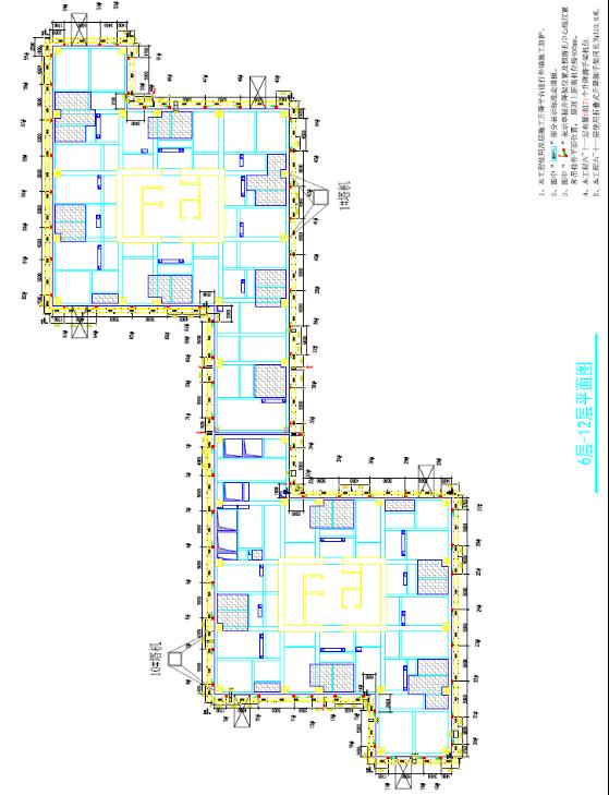 整体式全钢爬架施工方案(提升高度146.65m)-平面布置图