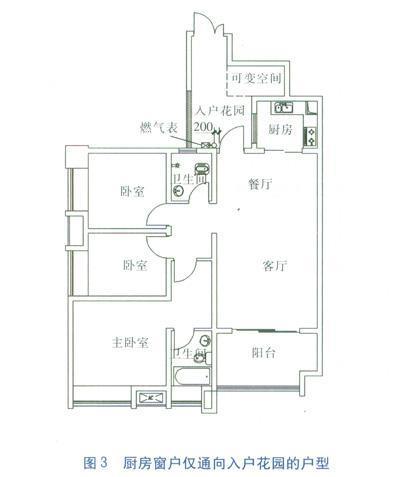 厨房窗户仅通花园的户型室内管道设计