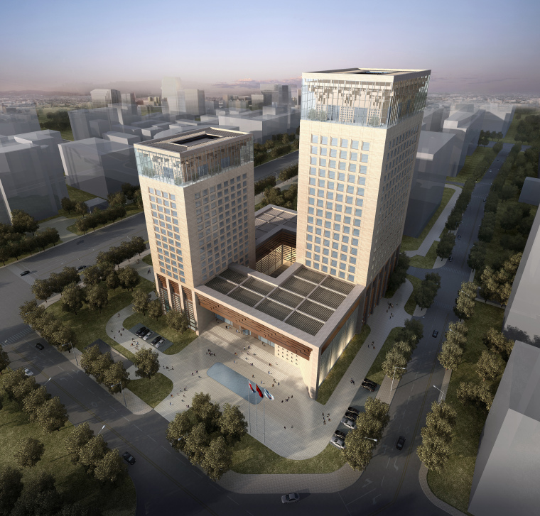 [北京]复兴门远程教育大厦中式风格办公大楼设计方案文本-同济院(PDF+JPG)