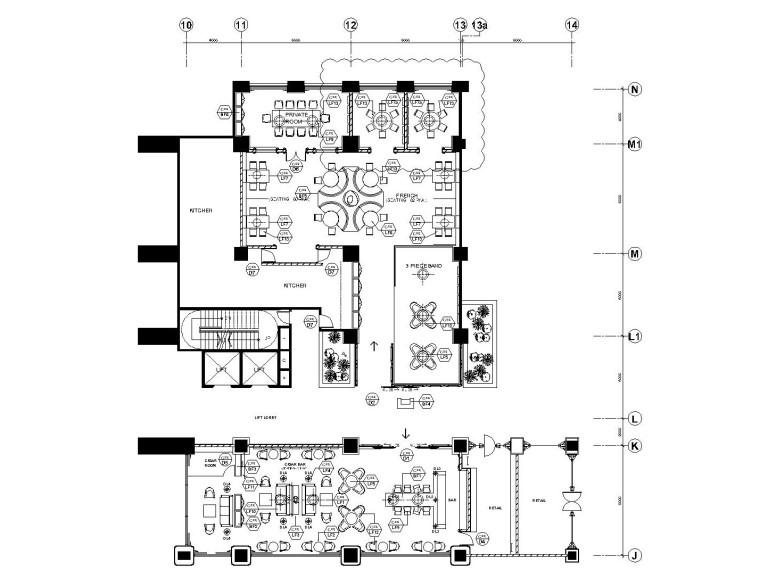 法式餐厅及雪茄吧装修全套施工图(附效果图+软装方案)