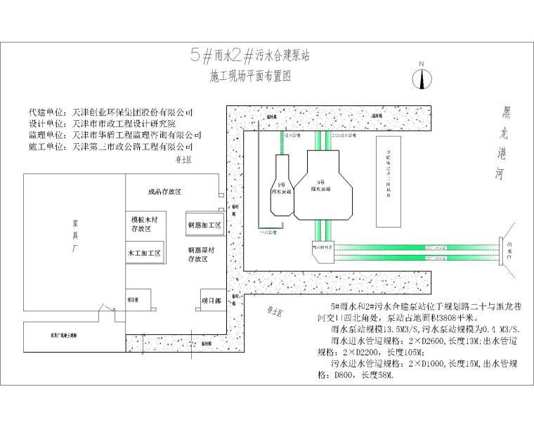 污水合建泵站施工现场平面图