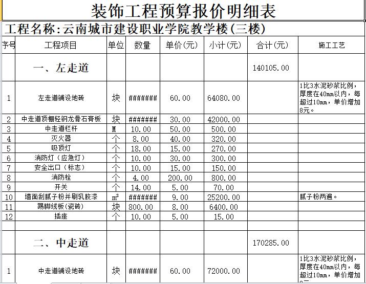 装饰工程预算报价明细表