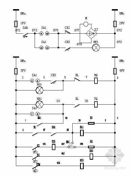 电气控制柜标准资料下载-某工程5台高压控制柜一二次原理图