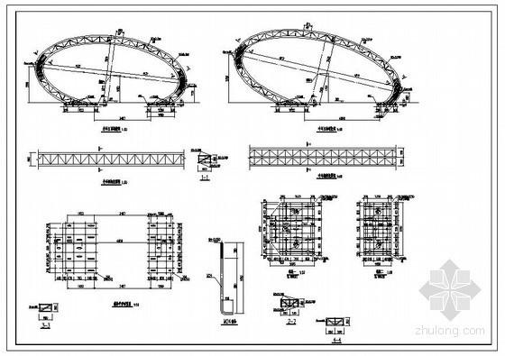 某椭圆花瓣型钢结构大门结构设计图