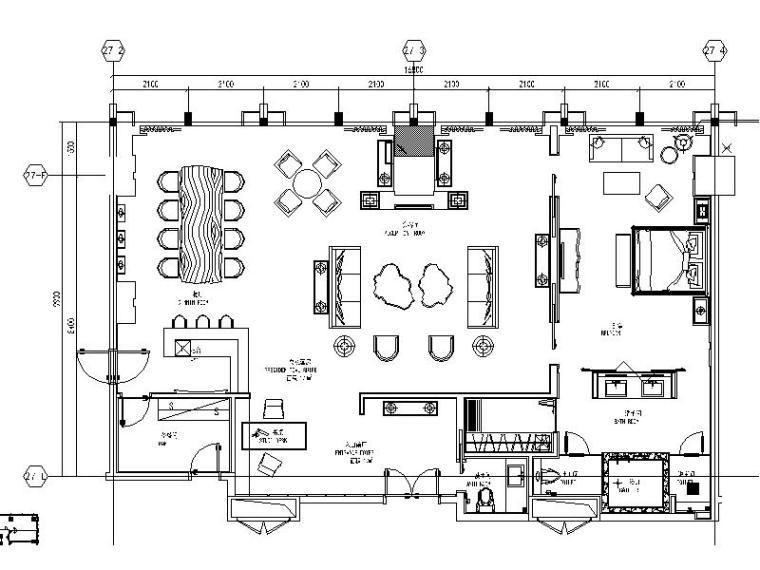 [成都]時尚豪華5星酒店總統套房室內設計施工圖