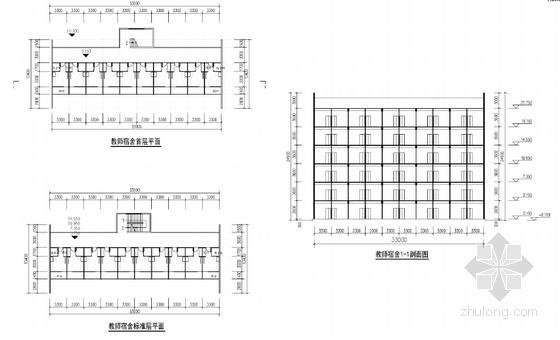 中式风格中学校园设计方案剖面图