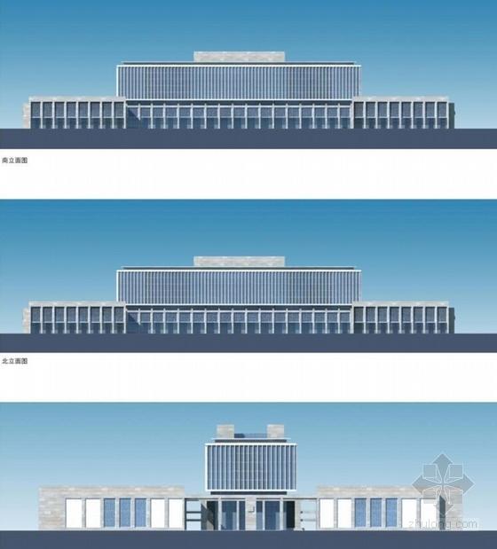 CBD地块院落式行政办公楼建筑立面图