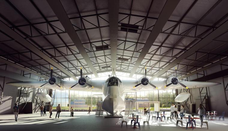 飞机工厂打造的观光中心,体量感的极致表达