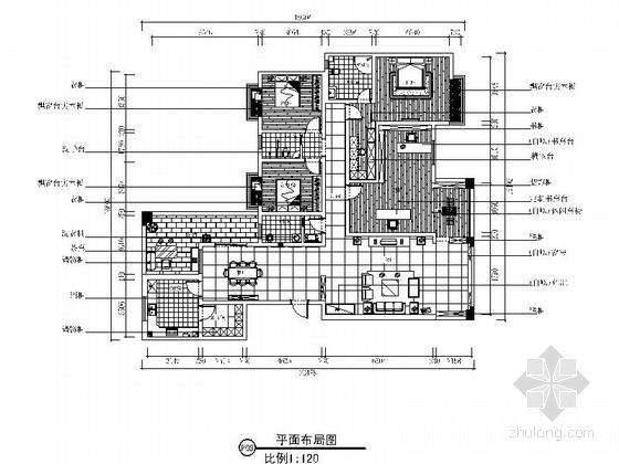 [长沙]现代中式风格四居室住宅装修CAD施工图(含效果图)