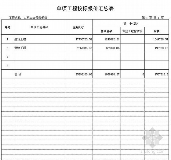 [山东]实验小学1号教学楼建筑、装饰工程投标报价(2012)