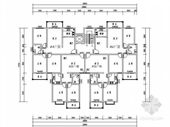高层住宅一梯四户型图(86、118、106平方米)