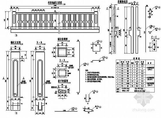 预应力混凝土栏杆详图设计资料下载-1×10米预应力混凝土空心板栏杆构造节点详图设计