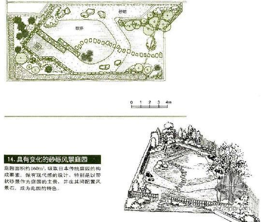 具有变化的日式风景庭院设计图