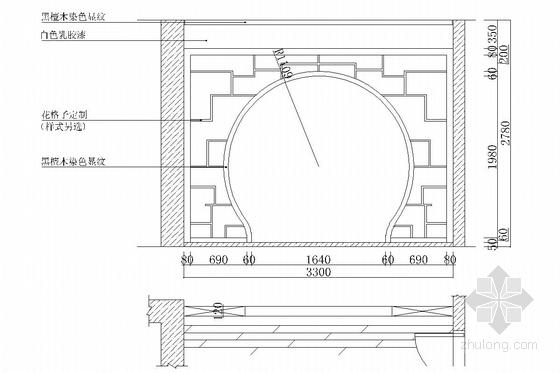 典雅中式二层别墅室内装修施工图(含效果图)茶室立面图