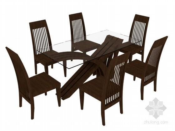 六人餐桌3D模型下载