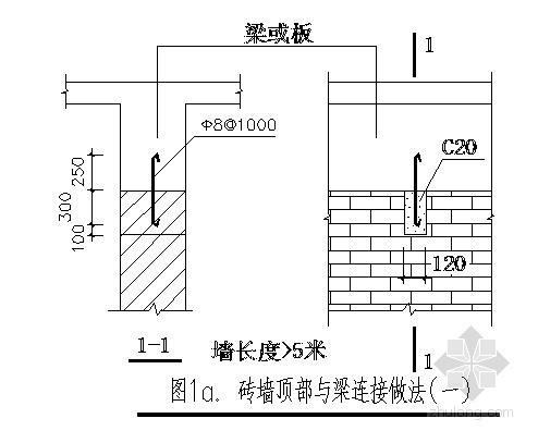 墙体与框架柱连结节点详图