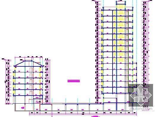 [浙江]2栋住宅楼(含地下室)建筑工程量计算及预算书(含施工图纸)-剖面图