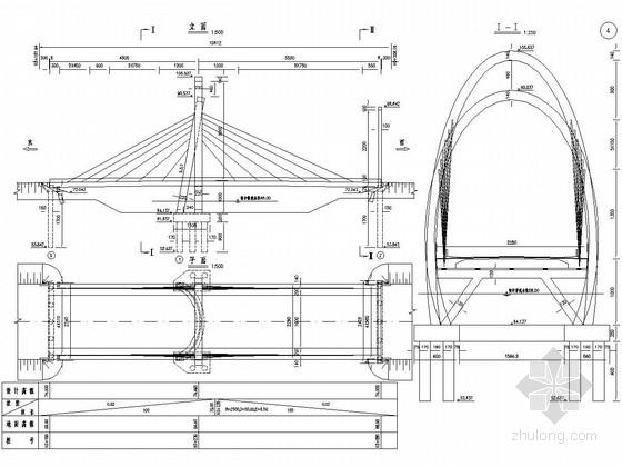 [山东]椭圆形独塔双索面斜拉桥施工图设计86张
