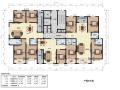 方案高层住宅一梯三户型平面图(115、155、177平方米)