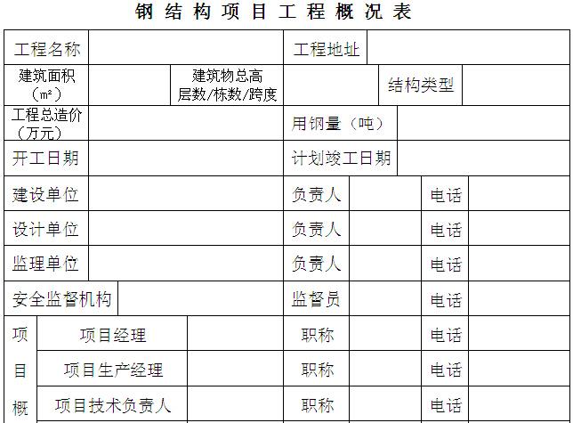 钢结构项目工程概况表