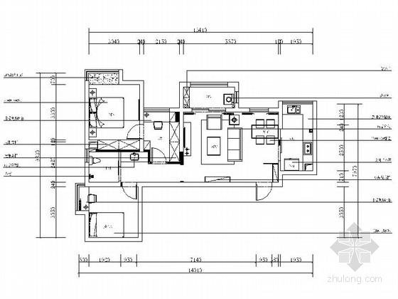 [湖北]浪漫欧式田园风格三居室室内装修施工图(含效果)
