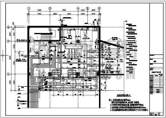 某五星级酒店给排水机房平面图