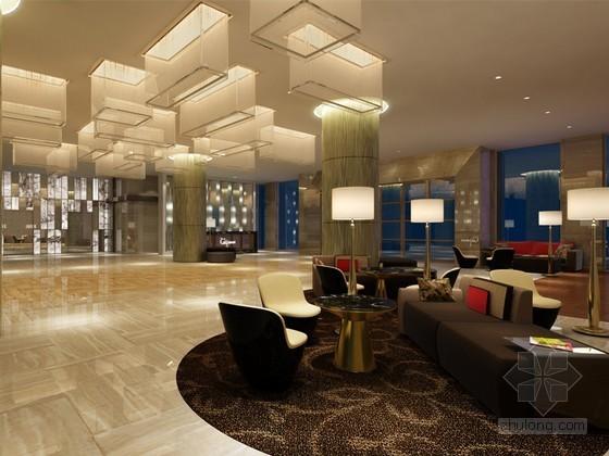现代办公楼接待大厅3d模型