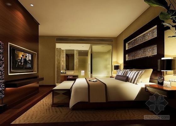 [四川]2.79亿夺标大厦改建四星级高档奢华酒店装修施工图(含方案)客房豪华间卧室效果图