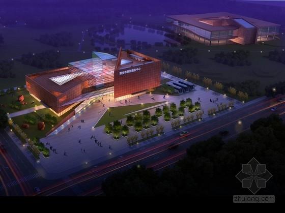 [四川]3层红砂石玻璃幕墙服务中心单体建筑设计方案文本