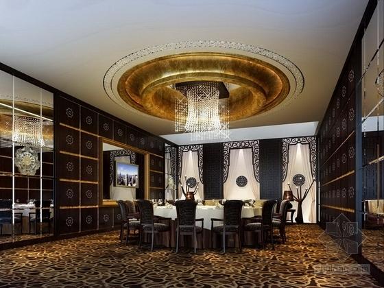 [深圳]城市中心区奢华典雅酒店设计CAD施工图(含效果)大包房效果图