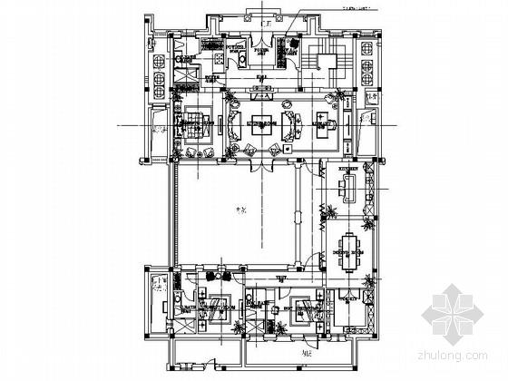 [浙江]优雅法式风格三层别墅样板间室内装修施工图(含效果图)