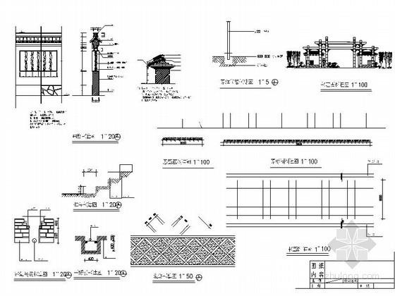 大门、围墙节点施工详图