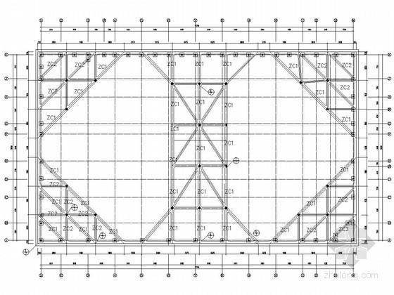 SMW工法加一道内支撑深基坑支护平面布置图