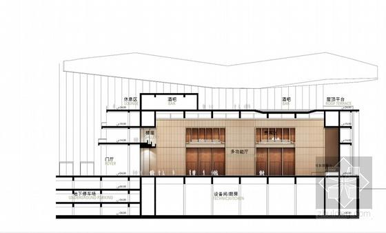 现代风格多层大剧院剧场剖面图
