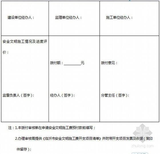 [临沂市]建设工程安全文明施工费拨付审核单表格