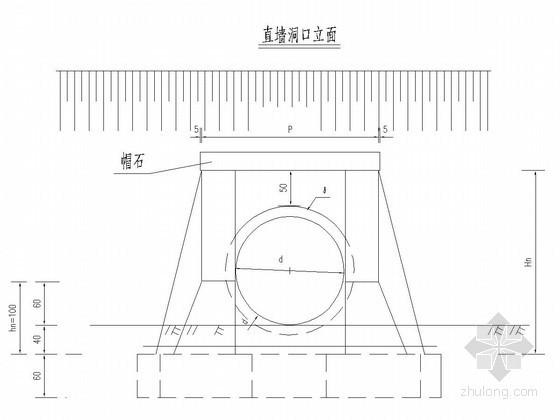 钢筋砼圆管涵正交直墙洞口构造图(含工程数量表)