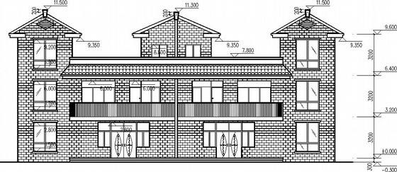 二层坡屋面连体别墅施工图(含建筑图)