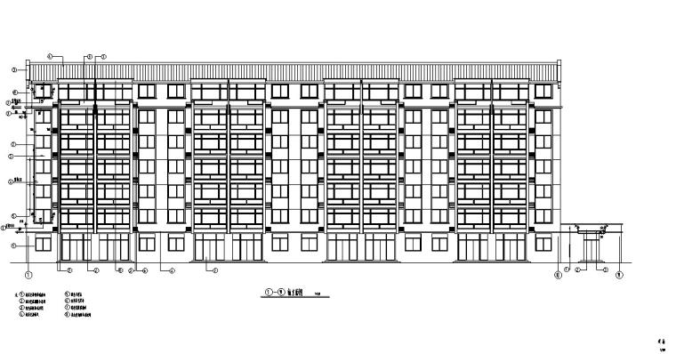 3套商住综合楼建筑设计施工图CAD-多层商住综合楼建筑设计立面图