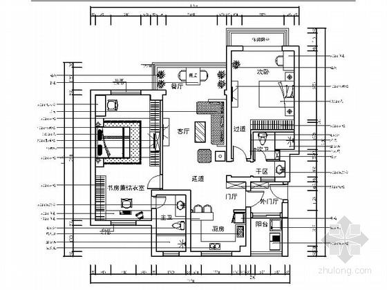 精品地中海风格三居室样板间室内装修施工图
