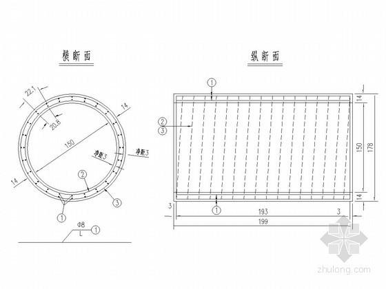 圆管涵孔径1.5m直管节钢筋构造图(长2.0m)