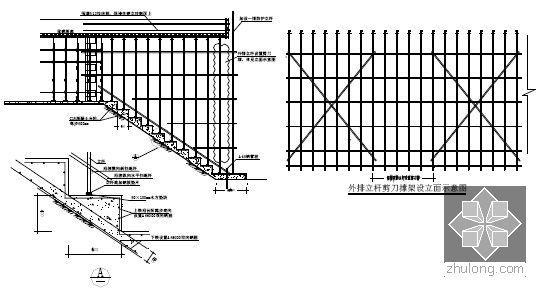 [江苏]逆作法地铁双柱三跨框架车站施工组织设计166页(高压旋喷桩复合挡土墙)-脚手架搭设示意图
