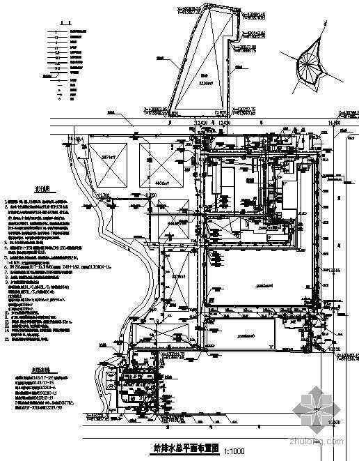 广东某厂区给排水管道总平面图
