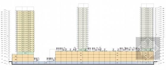 [广东]高层现代风格购物中心及住宅建筑设计方案文本-高层现代风格购物中心及住宅建筑剖面图
