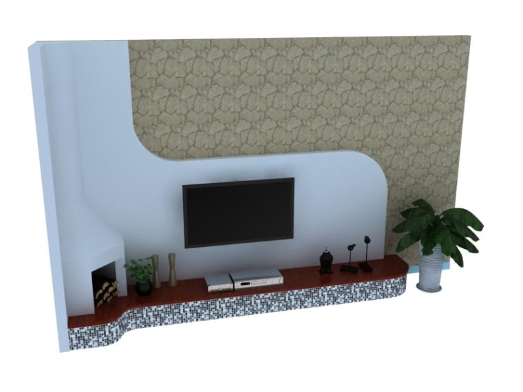 简欧背景墙3D模型下载