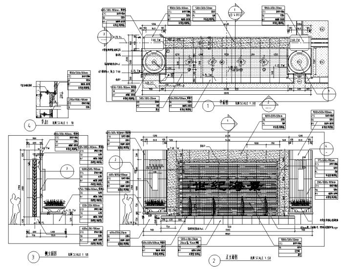 园林景观小品特色水景CAD设计详图