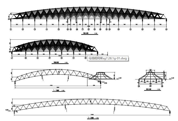 马术训练厅钢网架结构施工图